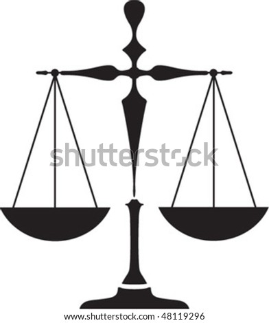 silhouette  balance scale isolated - stock vector