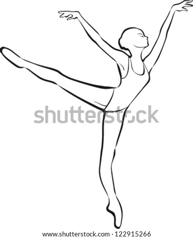 Silhouette ballet dancer - stock vector