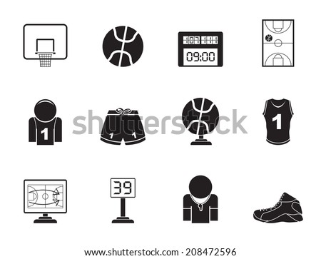 Silhouette Basketball and sport icons - vector Icon Set - stock vector