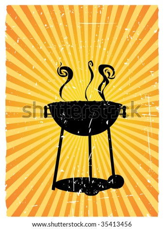 Silhouette bbq surrounded by beams of sunny rays accented by grunge - stock vector