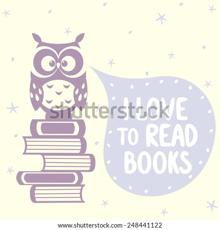 silhouette beautiful and cute owl sitting on of books with place for text in cloud - stock vector