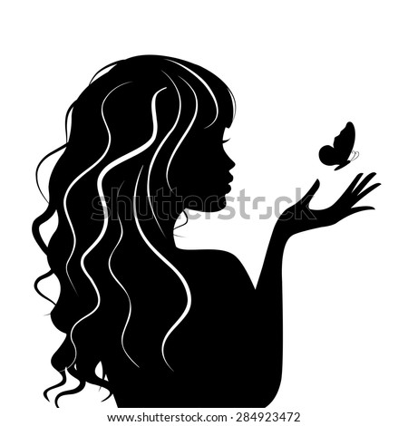 silhouette Beauty girl with butterfly - stock vector