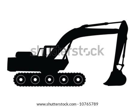 Silhouette big excavator, vector illustration - stock vector