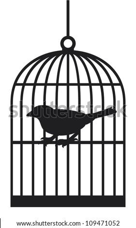 Open Birdcage Silhouette Bird Cage Stock...