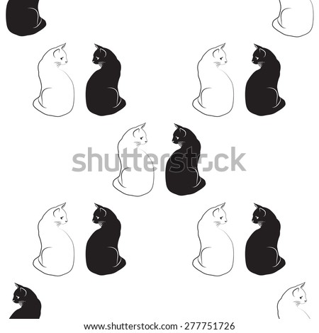 silhouette black and white cat pattern back background vector