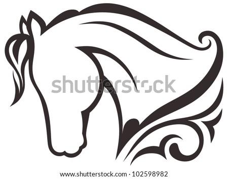 Silhouette black horse - stock vector