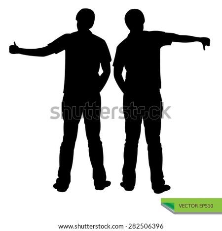 silhouette black vector  man teen gestures symbol likes and dislikes. - stock vector
