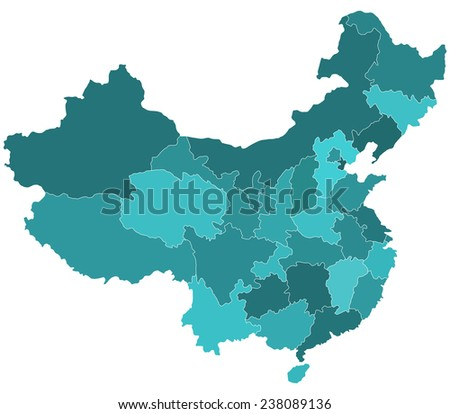 Silhouette border map of the China regions. All objects are independent and fully editable.  - stock vector