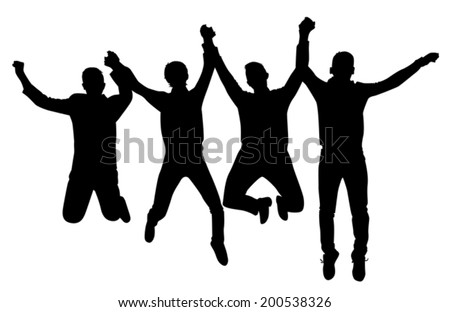 silhouette Bouncing students holding hands on a white background vector