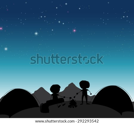 Silhouette boys camping out at night time - stock vector