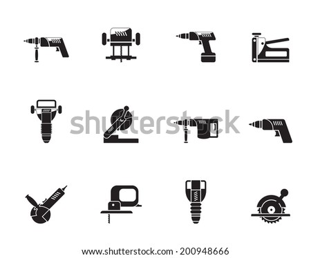 Silhouette Building and Construction Tools icons - Vector Icon Set - stock vector