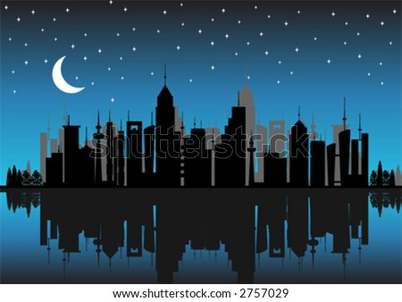 Silhouette buildings. City skyline by night with reflex. - stock vector