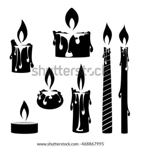 Silhouette Burning Candles Set Vector Elements Stock ...