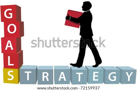 Silhouette businessman builds his business strategy adding blocks to achieve goals - stock vector