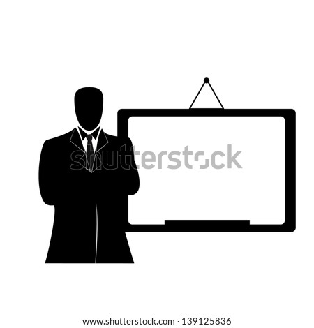 silhouette businessman with whiteboard - stock vector