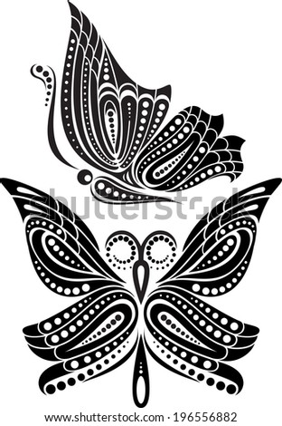 Silhouette butterfly with open wings tracery. Black and white drawing. stylized symbol - stock vector