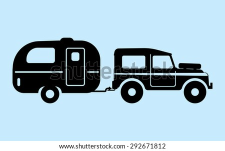 Silhouette camping car - stock vector
