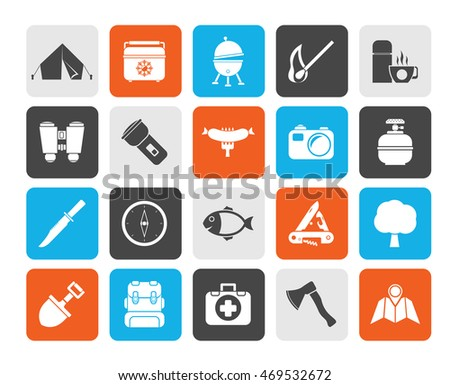 Silhouette Camping, travel and Tourism icons - vector icon set