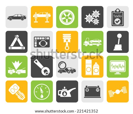 Silhouette car services and transportation icons - vector icon set - stock vector