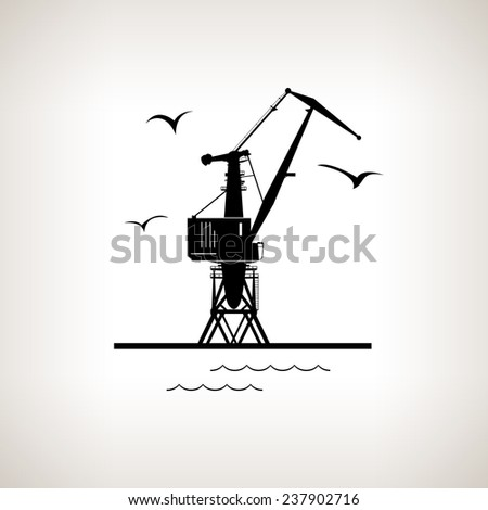 Silhouette cargo crane and seagulls in dock  on a light background,  black and white  vector illustration - stock vector