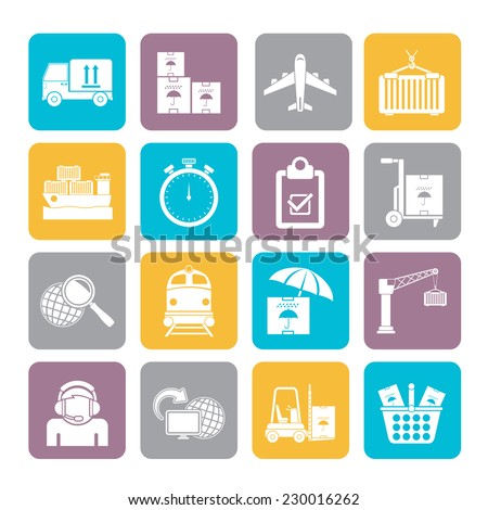 Silhouette Cargo, shipping and logistic icons - vector icon set - stock vector