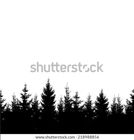 Silhouette Christmas trees forest. Vector - stock vector