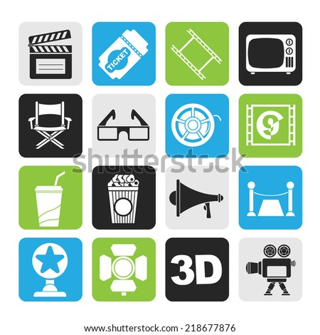 Silhouette Cinema and Movie icons- vector icon set  - stock vector