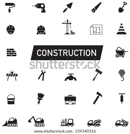 Silhouette Civil engineering, maintenance labor, excavator transport and construction site industry graphic tool equipment sign and symbol icon collection set, create by vector  - stock vector