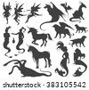 Silhouette collection of mythological animals, people, monsters, creatures... Fairy, elf, nymph, magician, unicorn, gin, dragon, hydra, chimera, mermaid, griffin...Hand drawn vector illustration, set. - stock vector