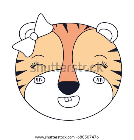 silhouette color sections face female tigress animal adorable expression happiness vector illustration