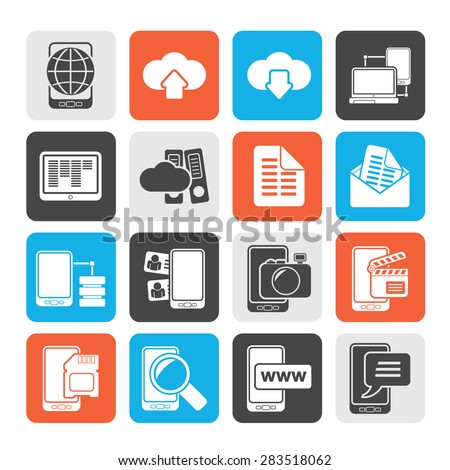 Silhouette Connection, communication and mobile phone icons - vector icon set