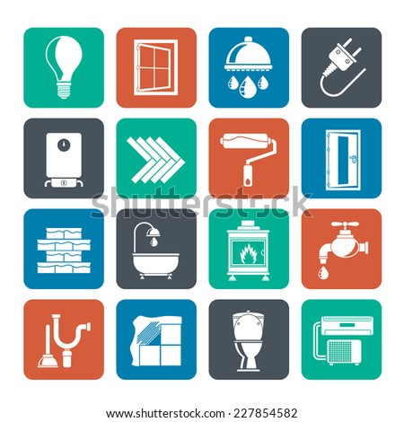 Silhouette Construction and home renovation icons - vector icon set - stock vector