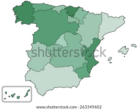 Silhouette contour border map of the Spain with regions. All objects are independent and fully editable  - stock vector