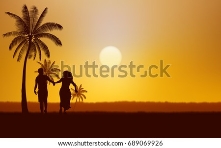 Silhouette couple man and woman holding hand walking together on beach under sunset sky background