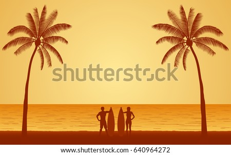 Silhouette couple surfer carrying surfboard on beach under sunset sky background in flat icon design