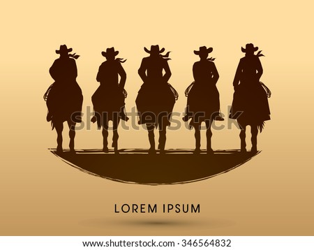 Silhouette, Cowboy Gangs on horse, graphic vector - stock vector
