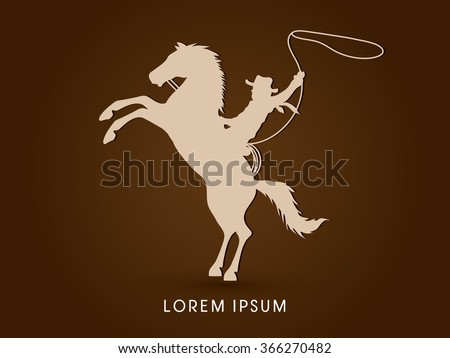 Silhouette, Cowboy on bucking horse with lasso graphic vector. - stock vector