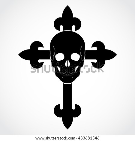 silhouette cross with scull { vector illustration - stock vector