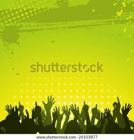 Silhouette crowd partying in front of abstract green grunge background
