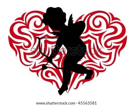 Silhouette cupid and Stylized heart - stock vector