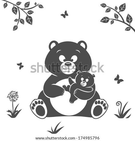 Silhouette cute cartoon bear and baby bear - stock vector
