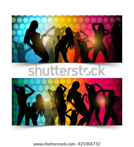silhouette dancing girl in party - stock vector