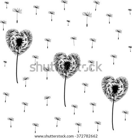 Silhouette dandelions in the form of heart