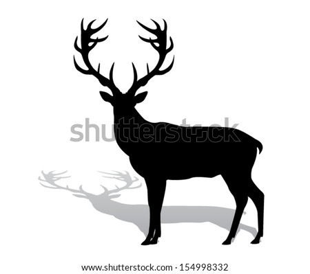 silhouette deer with great antler/animal/ vector illustration  - stock vector