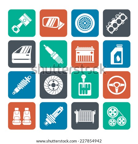 Silhouette Detailed car parts icons - vector icon set - stock vector