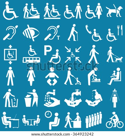 Silhouette disability and people related graphics collection isolated on blue background