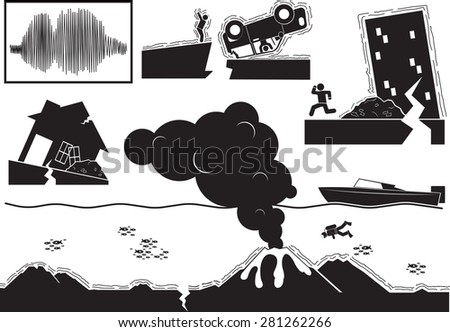 silhouette disaster and earthquake - stock vector