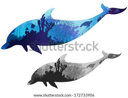 silhouette dolphin inside the seabed with corals, algae, fish and turtle, color and black and white versions, white background - stock vector