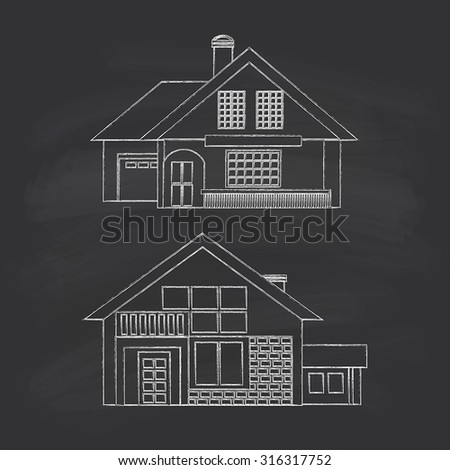 Silhouette drawing summer houses. Chalk on a blackboard. - stock vector