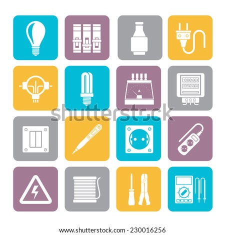 Silhouette Electrical devices and equipment icons - vector icon set - stock vector